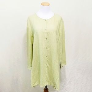 Eileen Fisher spring green tunic top oversized Med